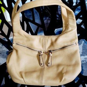 Tignanello camel leather shoulder hobo bag